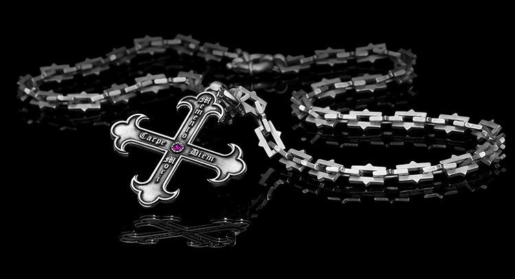 Cross pendant with chain Memento Mori, Carpe Diem