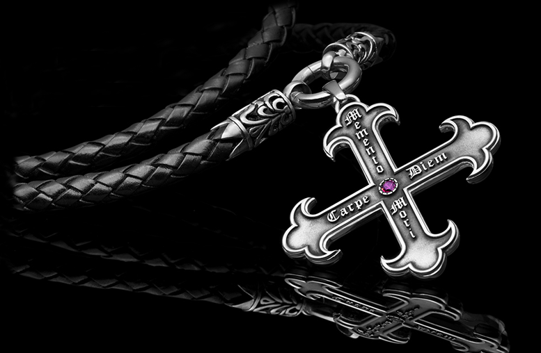 Cross pendant with leather strap Memento Mori, Carpe Diem